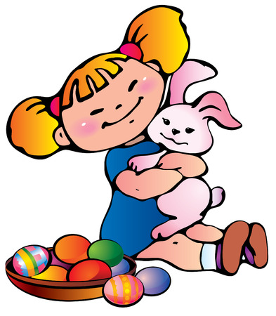 Little girl with easter bunny. Happy Easter.  art-illustration. Stock Vector - 6854722