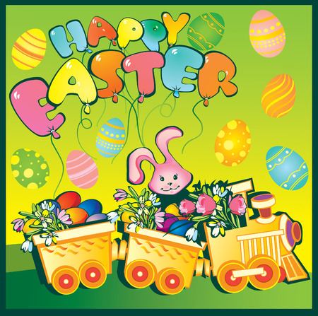 Cartoon train carrying lots of brightly flowers and easter eggs. Happy Easter. art-illustration. Vector