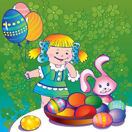 Little girl with easter bunny and plate of paschal eggs. Happy Easter. art-illustration. Vector