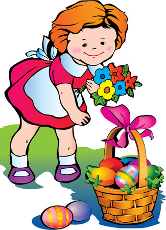 paschal: Beautiful girl with basket of paschal eggs. Happy easter.  art-illustration. Illustration