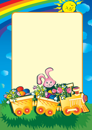 Cartoon train carrying lots of brightly flowers and easter eggs. art-illustration. Vector