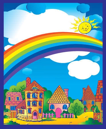 A beautiful town in the sunny weather.  art-illustration. Vector