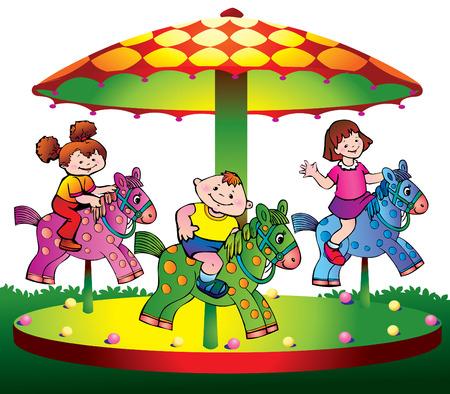 Kinderen rijden op de carrousel.  kunst-illustratie op een witte achtergrond.