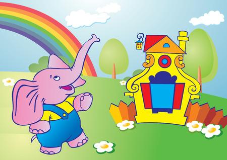 Beautiful elephant near their homes. Fairy-tale. art-illustration. Stock Vector - 6877595