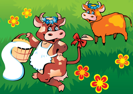 dairy cattle: Happy friendly cows dancing in the meadow. art-illustration.