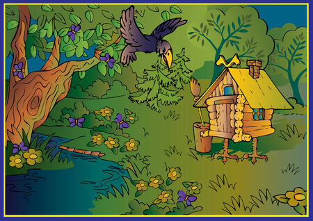 Hut on chicken legs in woods. Fairy-tale.  art-illustration. Vector