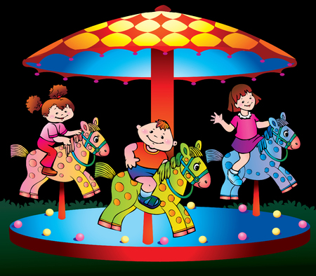 speed ride: Children ride on the carousel.  art-illustration on a black background. Illustration