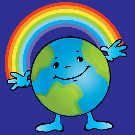 Earth with a smile and rainbows. art-illustration on a blue background. Vector