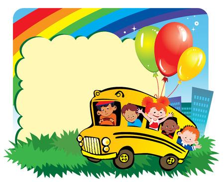 place for children: Infancia de la escuela.  Los ni�os van a la escuela para aprender. Lugar para el texto. arte-ilustraci�n. Vectores