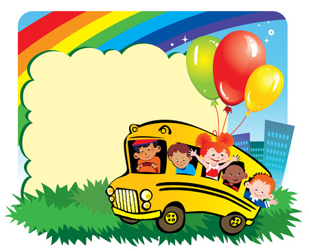 School childhood.  Children go to school to learn. Place for your text. art-illustration. Stock Vector - 6877761