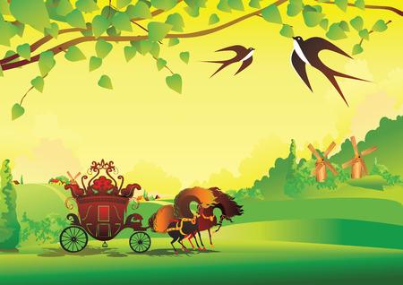 fairy tail: A beautiful landscape with coach. Fairy-tale.  art-illustration.