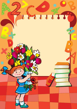 School childhood. Small girl with flowers in the school. Place for your text. Illustration. Vector