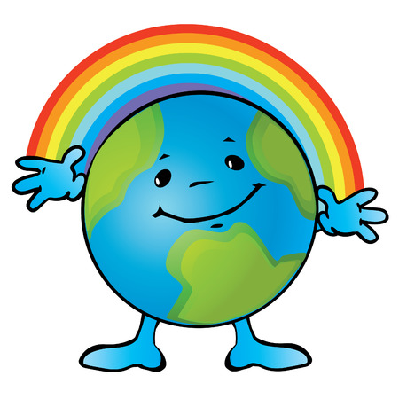 environment geography: Earth with a smile and rainbows.  art-illustration on a white background.