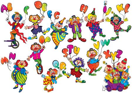 risas: Divertidos payasos con globos en forma de letras sobre un fondo blanco. arte-ilustraci�n. Vectores