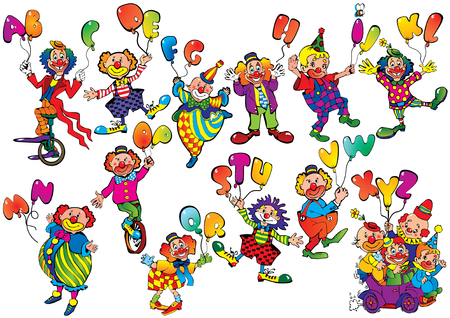 letter alphabet pictures: Funny clowns with balloons in the form of letters on a white background. art-illustration. Illustration
