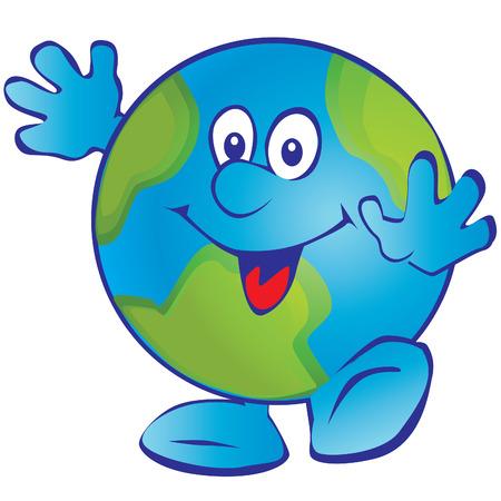 happy planet earth: Sonriendo tierra. arte-ilustraci�n sobre un fondo blanco. Vectores