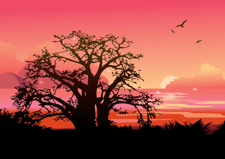 Trees at sunset. Lovely view of the ocean.  art-illustration. Vector