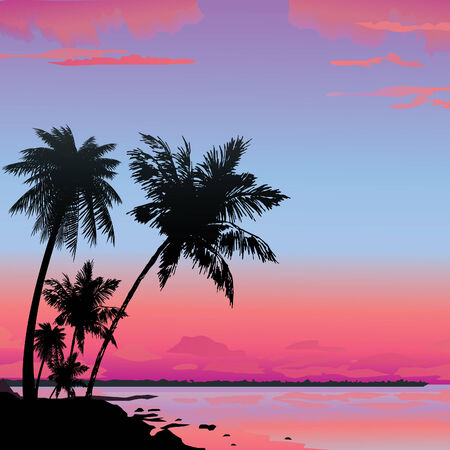 sunrise beach: Silhouette of the jungle on the ocean background.  art-illustration.