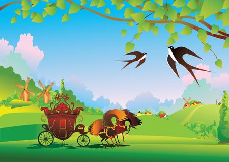 A beautiful landscape with coach. Fairy-tale.  art-illustration.