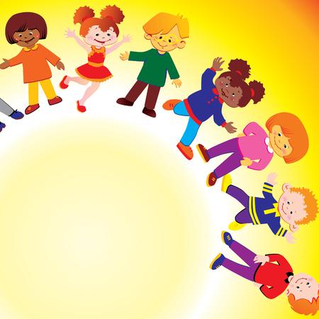 Felices los niños de diferentes nacionalidades jugar juntos. arte-ilustración.