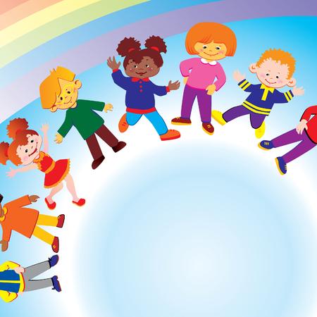 fraternit�: Les enfants heureux de diff�rentes nationalit�s jouent ensemble. art-illustration.