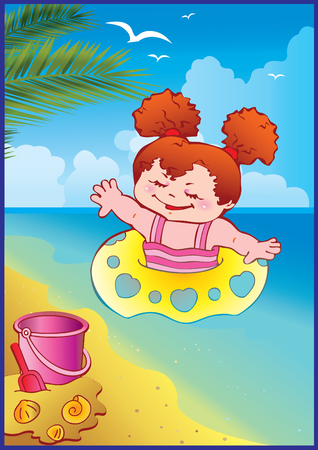 In holiday at the sea. A happy little girl on the beach. art-illustration. Vector