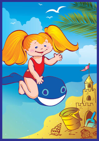 In holiday at the sea. A happy little girl on the beach.  Vector