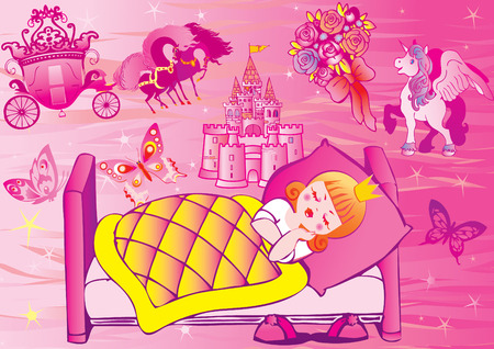 tales: Princess sleeps in bed.  Fairy-tale.