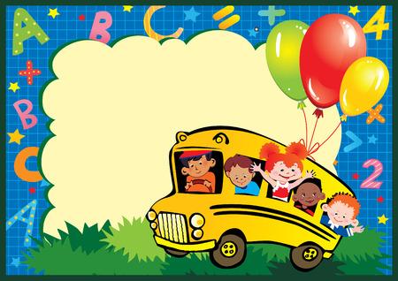 place for children: Infancia de la escuela. Los ni�os van a la escuela para aprender. Lugar para el texto.