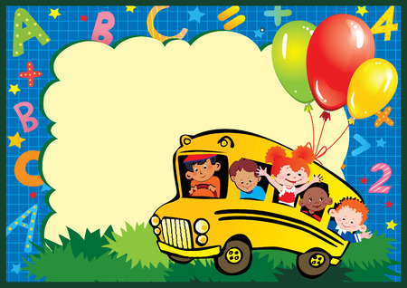 School childhood. Children go to school to learn. Place for your text.  Vector