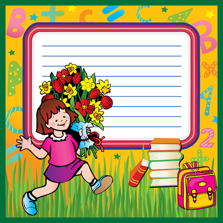 School childhood. Small girl in the school. Place for your text.  Vector