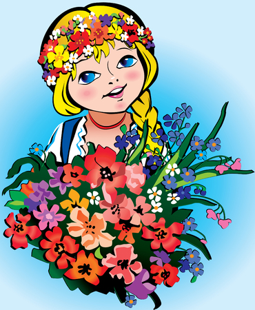 Beautiful girl with big bouquet of flowers on the blue background.  Vector