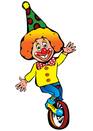 Funny clown on a white background.  art-illustration. Vector
