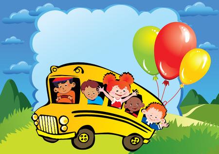 place for children: Infancia de la escuela. Los ni�os van a la escuela para aprender. Coloque su texto. arte-ilustraci�n.  Vectores