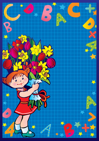 School childhood. Small girl with flowers in the school. Place for your text. art-illustration. Vector