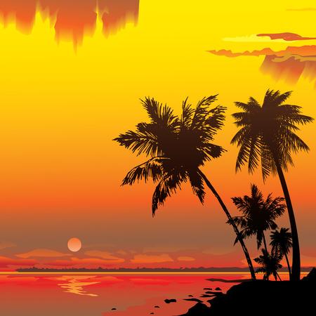 Sagoma della giungla sullo sfondo oceano.  arte-illustrazione.