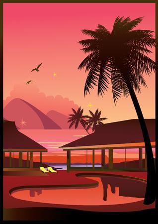 Relaxing tropical swimming pool.  art-illustration. Vector