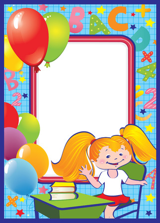 School childhood. Girl in the school. Place for your text. art-illustration. Stock Vector - 7056782