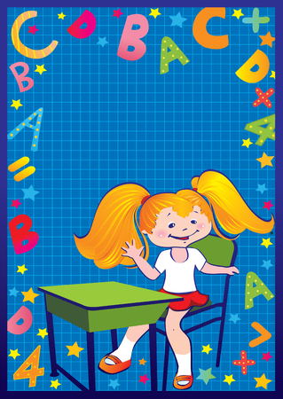School childhood. Girl in the school. Place for your text. art-illustration. Vector