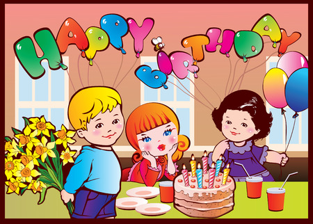 balloon bouquet: Happy birthday party. Good childhood. art-illustration. Illustration