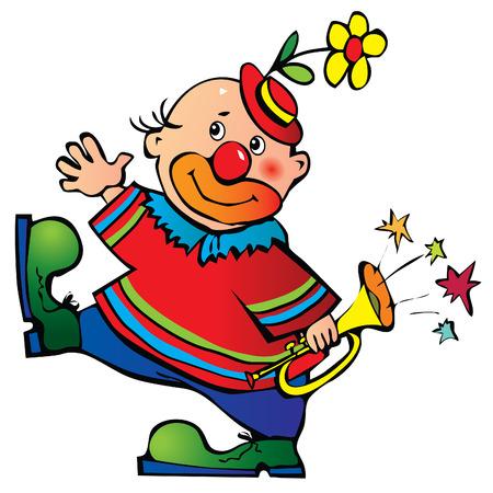 giullare: Divertente clown con tubo.