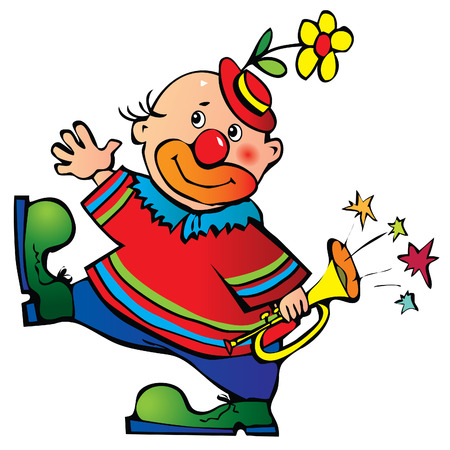 Funny clown with pipe. Vector