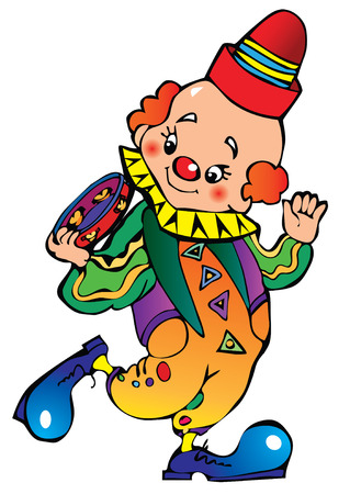 circus artist: Funny clown play the tambourine. Illustration