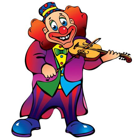 Funny clown plays the violin. Vector