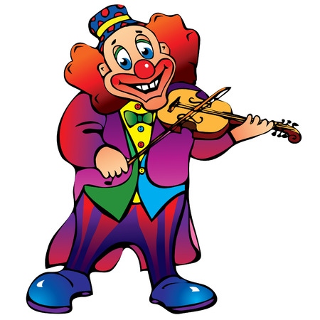 jester hat: Funny clown plays the violin.