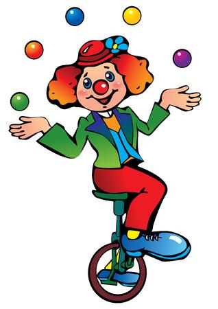 Funny clown juggler. Vector
