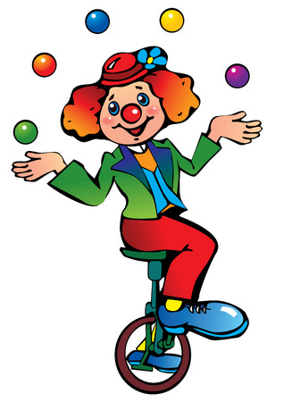 circus artist: Funny clown juggler. Illustration