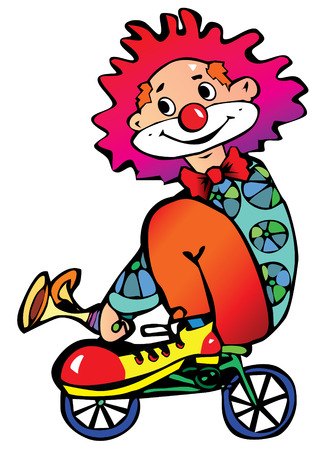 Funny clown rides a bicycle.  Vector