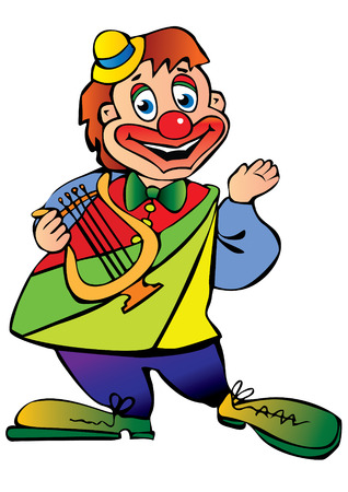 Funny clown plays the lyre. Vector