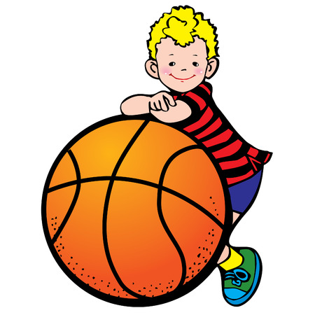 animation: Een jongen met een basket bal bal.  Stock Illustratie